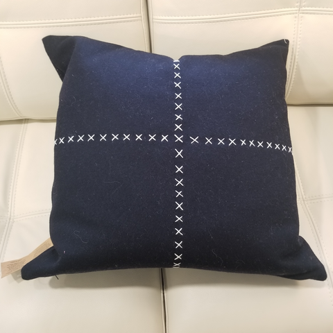 Navy Wool Cushion
