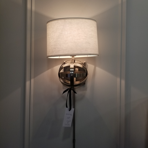 Nickel Finish Globe Wall Sconce