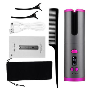 Cordless Automatic Rotating Ceramic USB Rechargeable Hair Curler