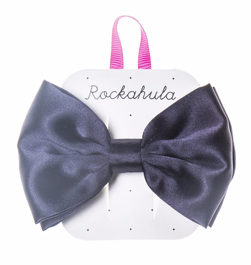 Satin Luxe Double Bow Clip - Blue
