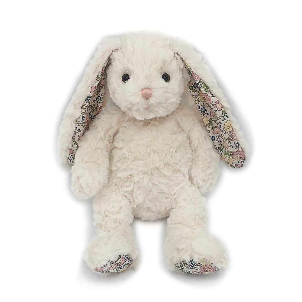 """Faith"" Cream Floral Bunny Plush Toy"