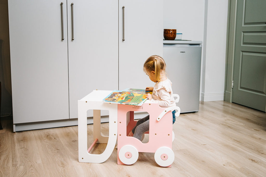 White/Pink Toddler Tower Trolley Style