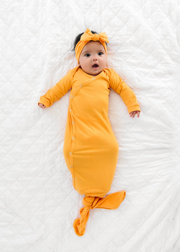 Newborn Knotted Gown - Solar