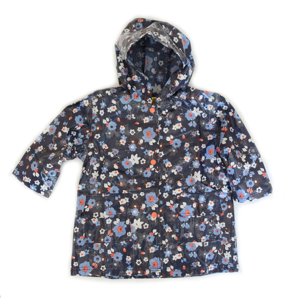 Girls' Rain Coat - Navy Flower