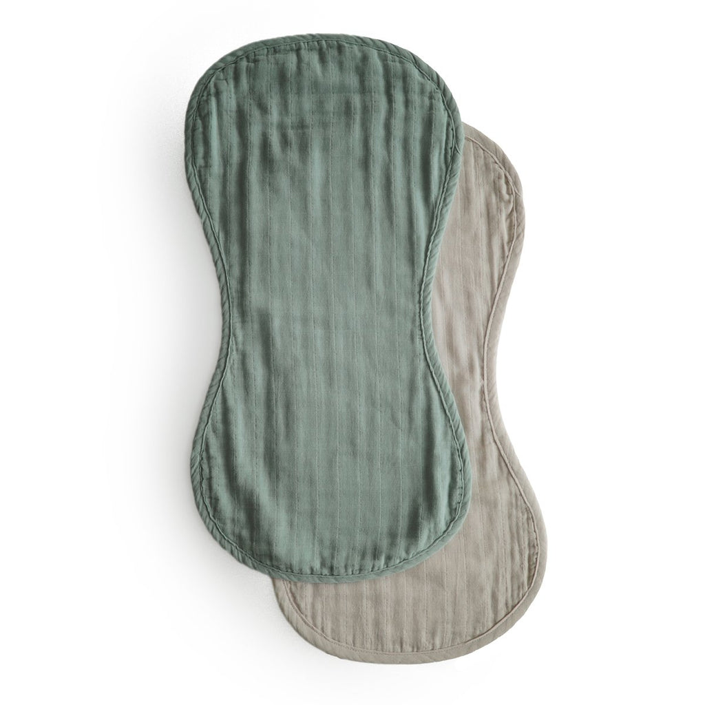 Muslin Burp Cloth Organic Cotton 2-Pack (Roman Green/Fog)