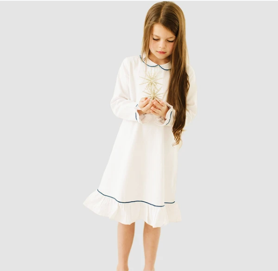 White Sophia Nightgown with Navy Piping
