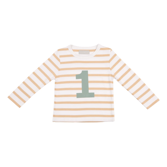Biscuit & White Breton Striped Number 1 T-Shirt