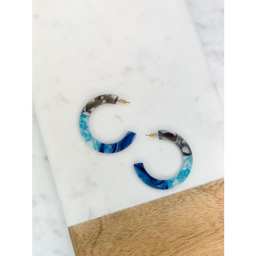 Blue Multi Acrylic Hoop Earrings