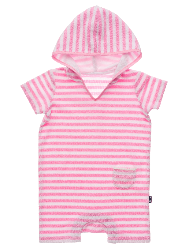 Pink & White Stripe Towelling
