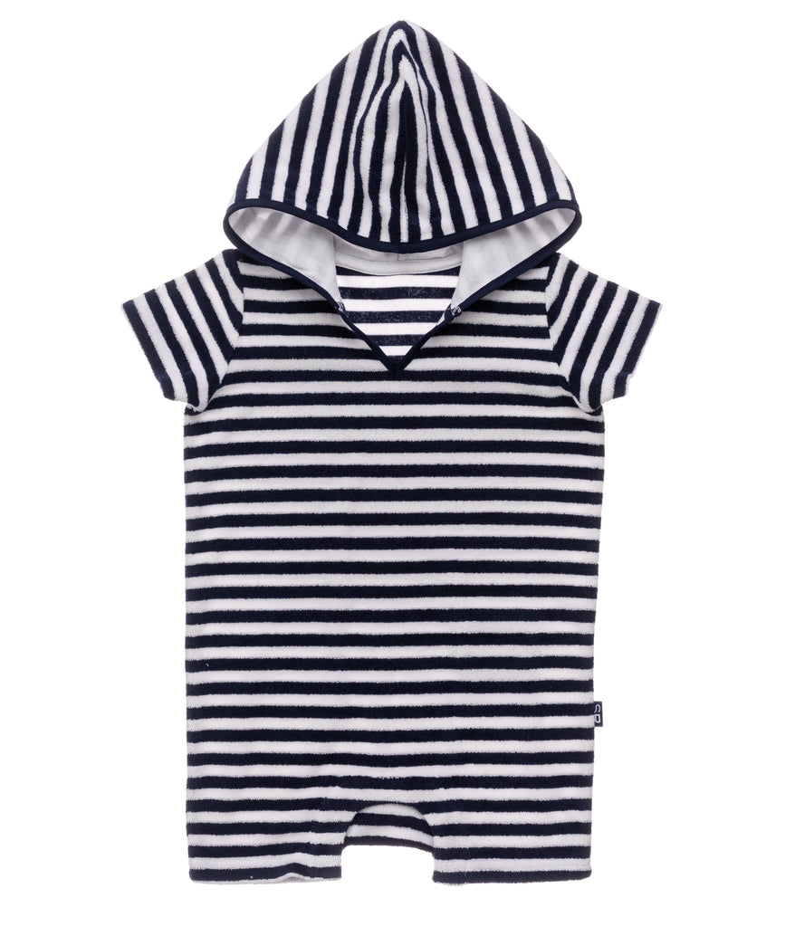 Navy & White Stripe Towelling