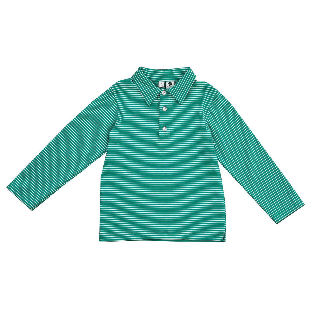 Busy Bees Polo - Green White Stripe Knit