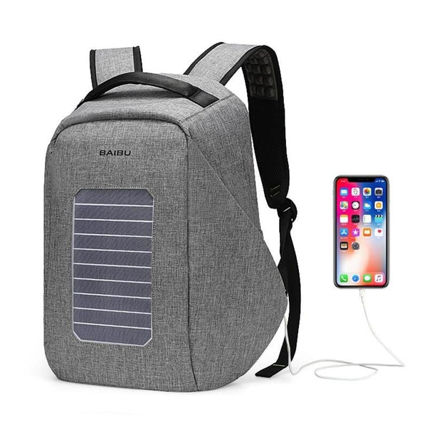 20L 9w Solar powered anti-theft laptop backpack