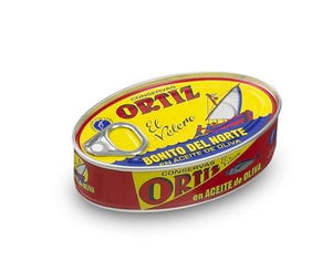 ORTIZ BONITO DEL NORTE WHITE TUNA IN OLIVE OIL, 112 G - On the Pigs Back