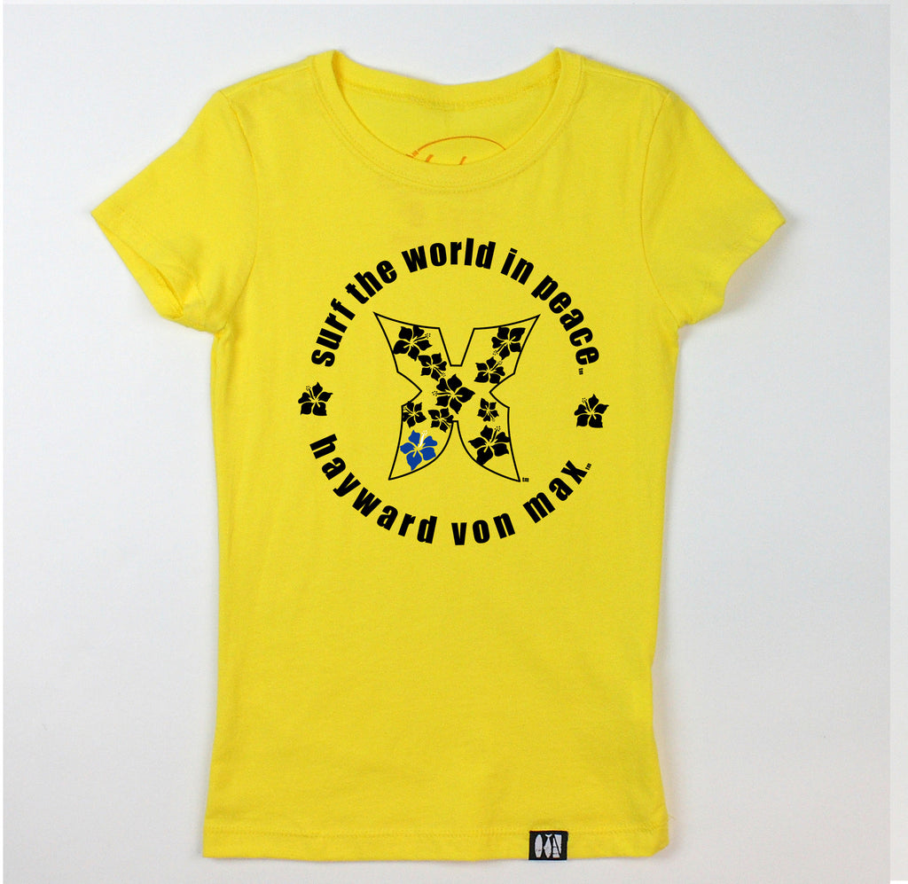 """Surf the World in Peace"" Girls' Tee"