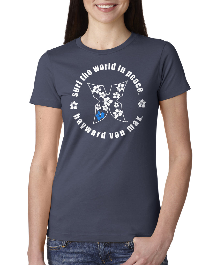 """Surf the World In Peace"" Women's Tee"