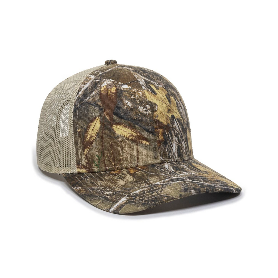 Wide Bill Camo Trucker Cap