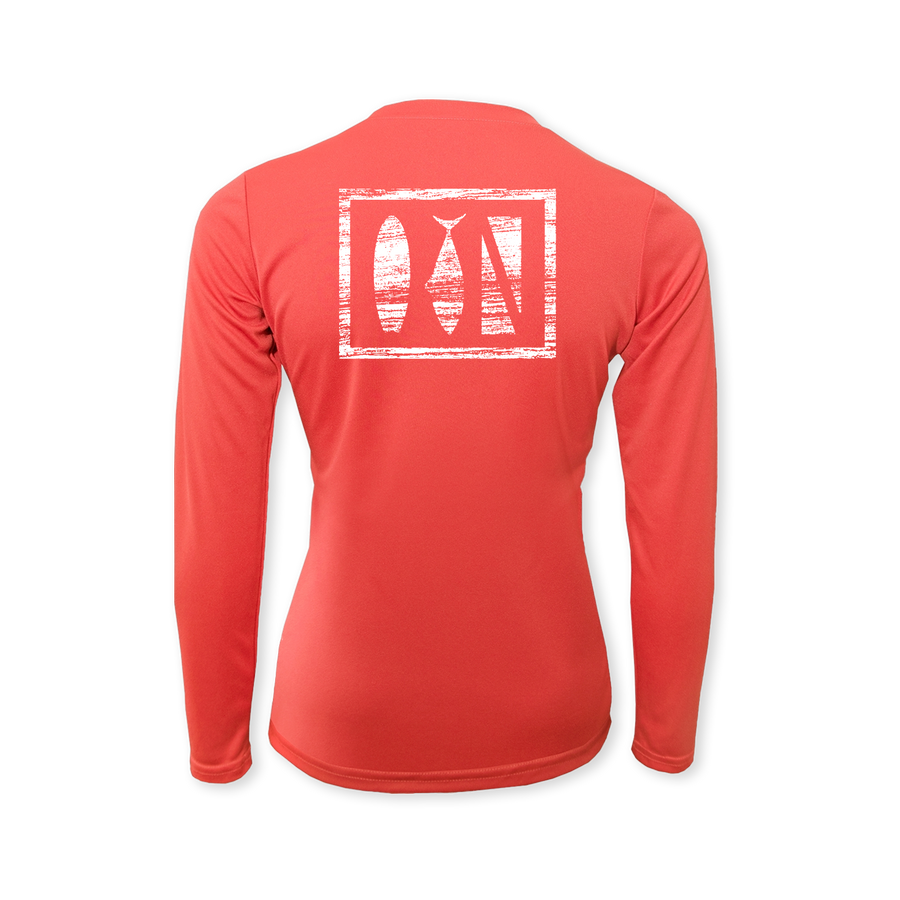 Salty Logo Performance Ladies Long Sleeve T-Shirt Coral