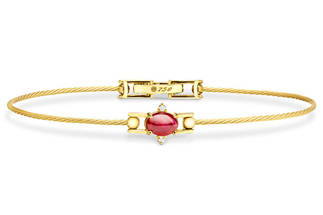 UNITY WIRE BRACELET WITH RUBY OVAL CABOCHON