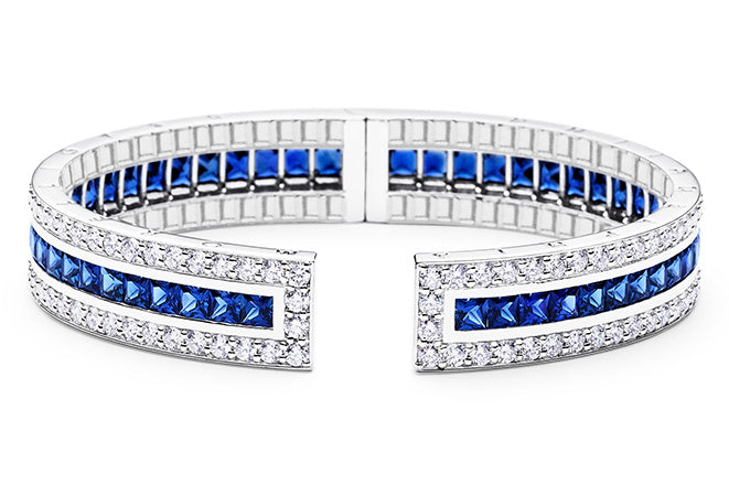 RECTANGULAR PINPOINT DIAMOND AND SAPPHIRE CUFF
