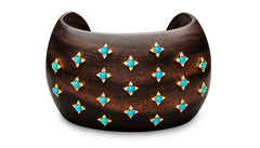 MACASSAR EBONY CARVED WOOD CUFF BRACELET