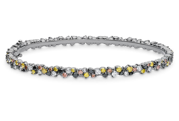 CONFETTI BANGLE BRACELET (BLACK GOLD, MULTICOLORED DIAMONDS)