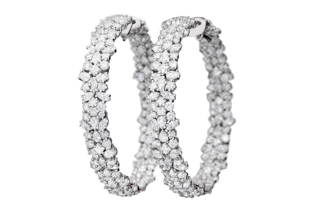 MIXED DIAMOND HOOP EARRINGS