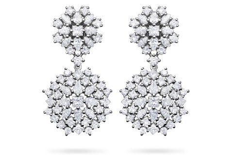 MIXED DIAMOND DOUBLE DANGLE EARRINGS