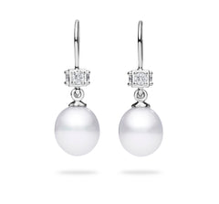 FRESHWATER PEARL AND DIAMOND CUBE DROP EARRINGS