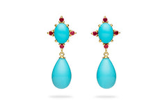 TURQUOISE CABOCHON AND DROP EARRINGS