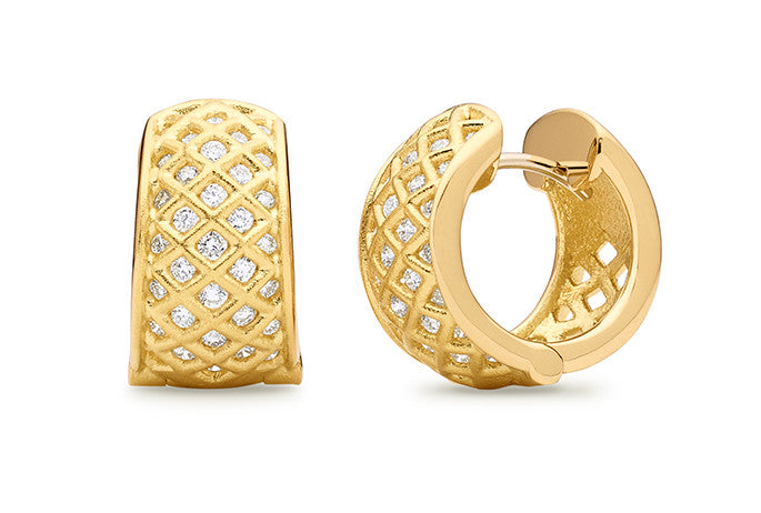 SPIRAL MESH DIAMOND SNAP HOOP EARRINGS
