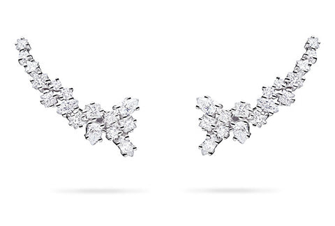 MIXED DIAMOND CLUSTER TRELLIS EARRINGS