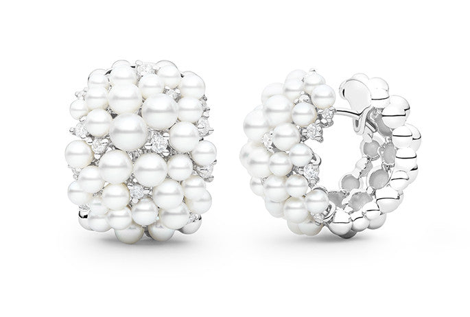 LAGRANGE PEARL SNAP HOOP EARRINGS
