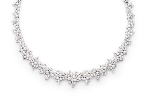 CASCADING LAGRANGE PEARL & DIAMOND NECKLACE