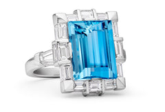 MODERN AQUA RECTANGLE RING