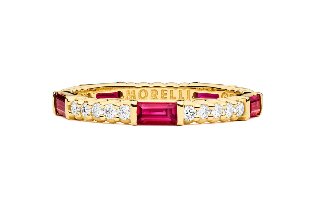 PINPOINT RUBY BAGUETTE DIAMOND ETERNITY RING
