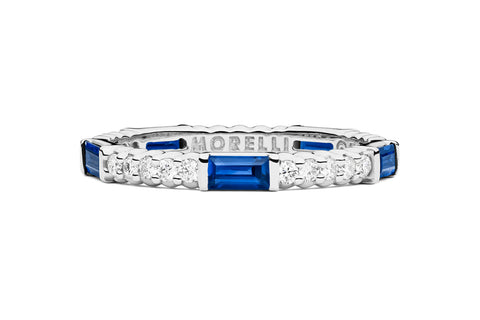 PINPOINT SAPPHIRE BAGUETTE DIAMOND ETERNITY RING