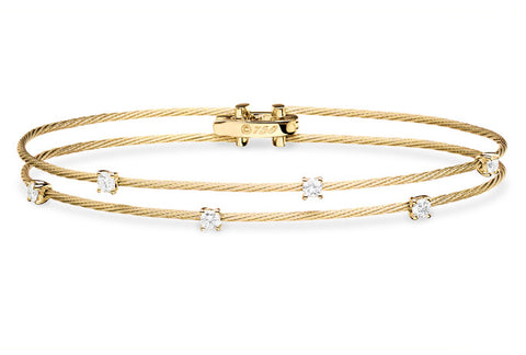 DOUBLE UNITY BRACELET WITH 6 DIAMONDS MEDIUM