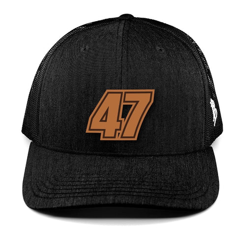 Black/Black No. 47 Curved Trucker Hat