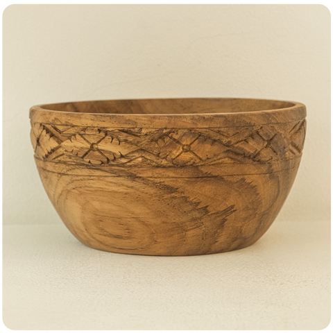 Limited Edition: Carved Batik Design Teak Wood Bowl