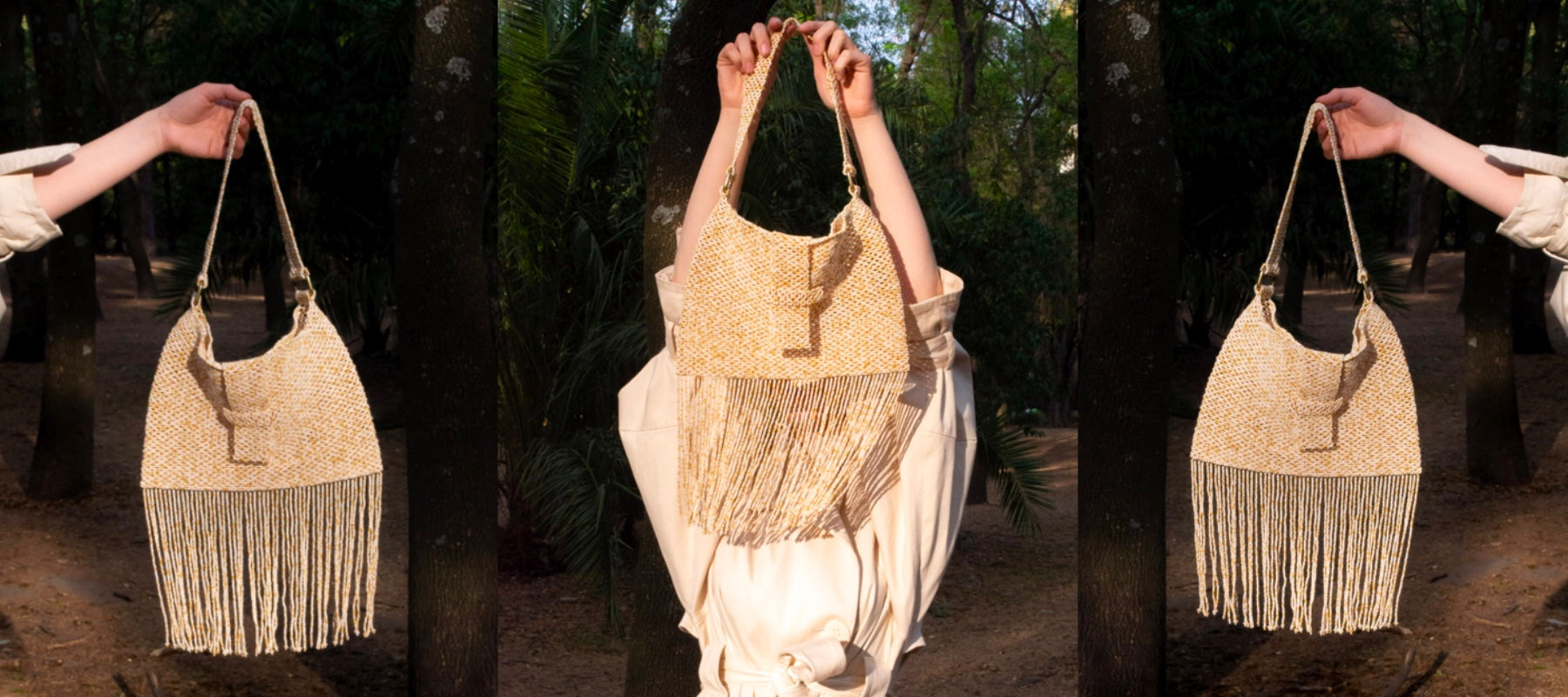 Picture is split in three parts showing the Fringe Flap beaded bag in color Sand. Background is trees in a park and the model is having the bag in her hand letting the fringes blow in the wind.