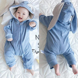 Bunny Baby Rompers Autumn Winter Clothing-Bunny Baby Rompers-Light Blue-59cm-COOL FUN TECH