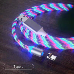Magnetic iPhone Android USB Fast Charging Cable with LED Strip lights-USB Cable-Colorful-Type c-COOL FUN TECH