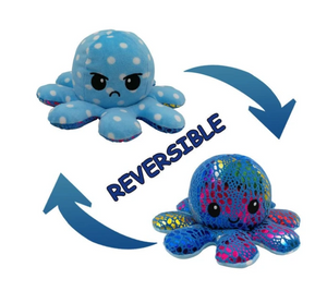Cute Flip-Mood Octopus Plush Toy-Flip Mood Octopus Plush Toy-Blue dots-10x20cm-COOL FUN TECH