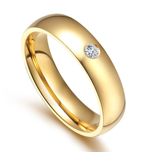 Golden Couple Rings with Personalized Engraving-Custom Couple Ring-Golden diamonds-No.10-COOL FUN TECH