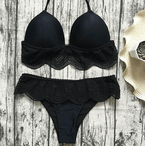 2020 Two piece swimsuits high low waisted lace bikini set-Two piece swimsuits-Black low waist-L-COOL FUN TECH