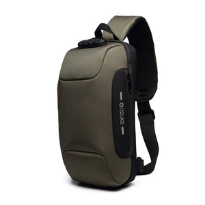 Multifunctional Anti-Theft Waterproof Shoulder Bag Chest Bag with USB Port-Anti-theft Multi-purpose Backpack-Military color-COOL FUN TECH