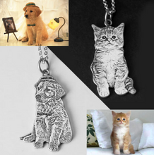 Load image into Gallery viewer, Custom Silver Pet Engraved Necklace-Custom 3D Pet Necklace-55mm-COOL FUN TECH