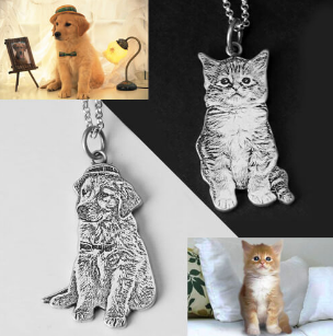 Custom Silver Pet Engraved Necklace-Custom 3D Pet Necklace-55mm-COOL FUN TECH