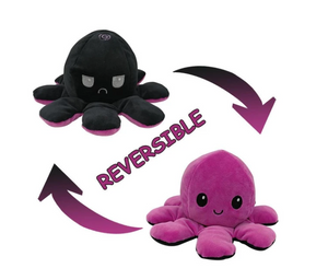 Cute Flip-Mood Octopus Plush Toy-Flip Mood Octopus Plush Toy-Pink black-10x20cm-COOL FUN TECH