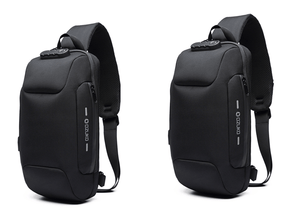 Multifunctional Anti-Theft Waterproof Shoulder Bag Chest Bag with USB Port-Anti-theft Multi-purpose Backpack-Black2pcs-COOL FUN TECH